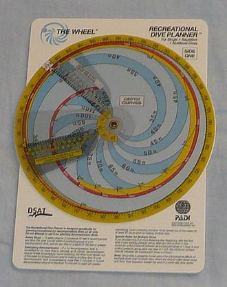 """Decompression equipment - The PADI recreational dive planner, in """"Wheel"""" format."""