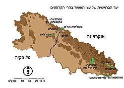 מפה של היערות בהרי הקרפטים באוקראינה ובסלובקיה
