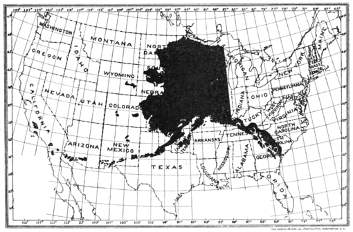 PSM V62 D189 Map of alaska compared to the lower us states.png