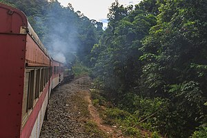 Sabah State Railway - Sabah State Railway train passing through the Padas River Valley in 2014.