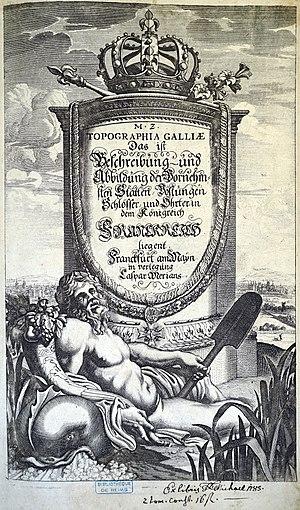 Topographia Galliae - Engraved title page of first volume, Topographia Galliae, 1655