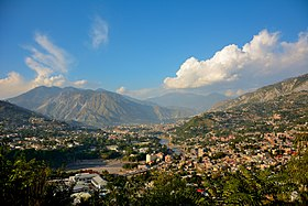 Aerial view of Muzaffarabad, which is situated in a valley formed by the confluence of the Neelam and Jhelum rivers
