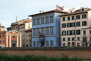 Palazzo Blu - Palazzo Giuli Rosselmini Gualandi in Pisa, location of Palazzo Blu. The advertisement for the exhibit on Amedeo Modigliani is clearly visible, hanging from the balcony.