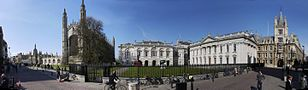 Panorama of Kings Parade in Cambridge, UK, at St. Mary's.jpg