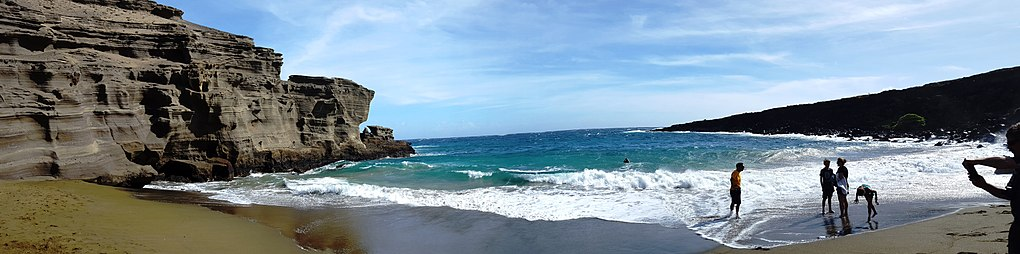 Panoramic View Of The Papakōlea Beach As Seen From Green Sands On One Four Sand Beaches In World Acquires Its