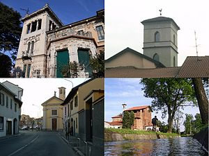 """Parabiago - From top, clockwise: Villa Ida Lampugnani-Gajo, ornamental tower in a lombard court, a roggia with the """"Madonna di Dio il Sà"""" church in the background, via San Michele with the church of San Michele in the background."""