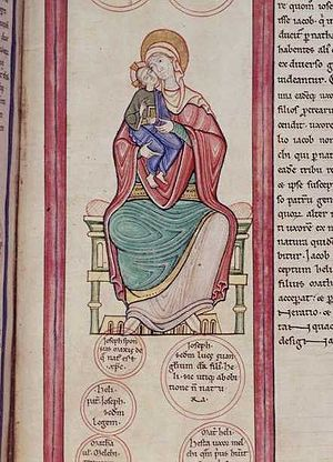 Parc Abbey Bible - The Virgin and Child from folio 20r of the Parc Abbey Bible.