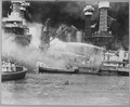 Pearl Harbor, T.H. taken by surprise, during the Japanese aerial attack. USS WEST VIRGINIA aflame. - NARA - 520594.tif