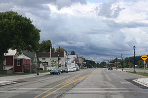 Pellston, Michigan - Looking south in downtown Pellston on US 31
