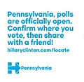 Pennsylvania, polls are officially open. Confirm where you vote, then share with a friend!.jpg