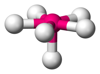 Pentagonal pyramidal molecular geometry - Image: Pentagonal pyramidal 3D balls