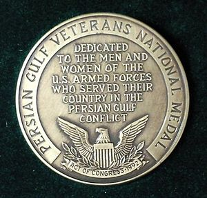 Persian Gulf Veterans National Medal - Persian Gulf Veterans National Medal of Unite states of America (1995 to 1997) (lit. 6.25 Incident Participation Medal)