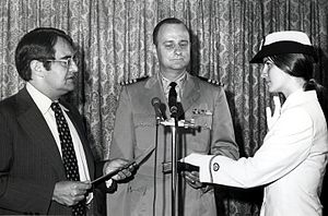 Peter George Peterson - Peterson swearing in the first woman officer of the NOAA Corps (1972).