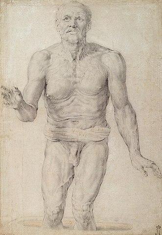 Сенека. 1600—1602, чёрный мелок. 46 × 32 см. Санкт-Петербург, Государственный Эрмитаж