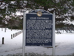 Historical marker in Petersburg commemorating Logan Fontenelle