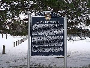 Petersburg, Nebraska - Historical marker in Petersburg commemorating Logan Fontenelle