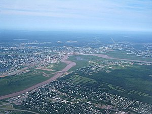 Petitcodiac River - An aerial view of the bend in the river at Moncton