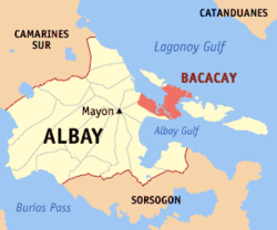 Map of Albay with Bacacay highlighted