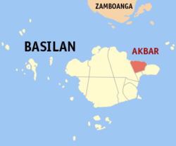 Map of Basilan with Akbar highlighted