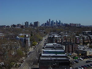 West Philadelphia, view down Baltimore Avenue ...