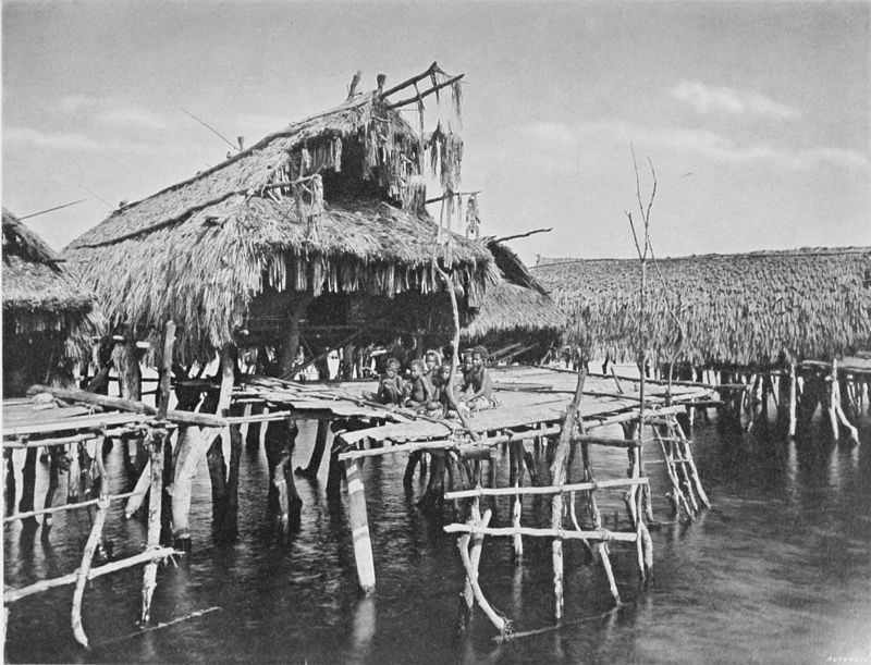 Black and white photograph of a single stilt-house surrounded by water. Seven children are sitting on the front platform.