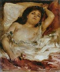 Femme demi-nue couchée : la rose