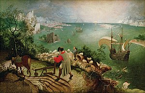 Landscape with the Fall of Icarus - Landscape with the Fall of Icarus, Royal Museums of Fine Arts of Belgium, now seen as a good early copy of Bruegel's original