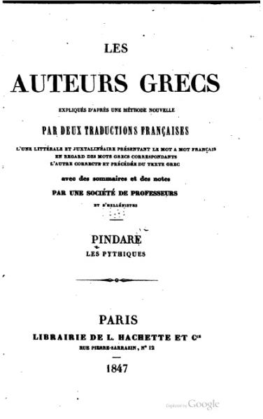 File:Pindare - Pythiques et Isthmiques, juxta, 1847.djvu