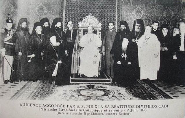 [Image: 640px-Pius_XI_with_Patriarch_of_the_Melk...Church.jpg]