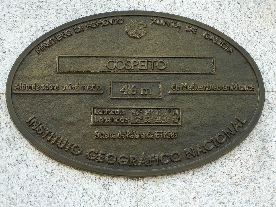 Placa altimétrica casa do concello de Cospeito, Lugo