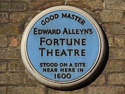 Photo of Edward Alleyn and Fortune Theatre blue plaque