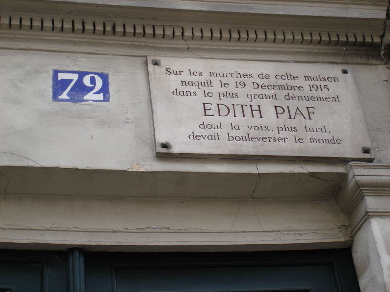 Fichier:Plaque naissance Edith Piaf.jpg