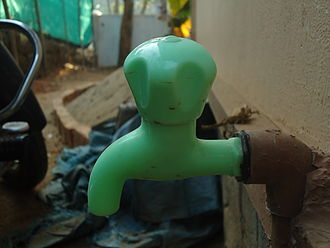 Tap (valve) - Plastic taps are widely used in India due to low costs.
