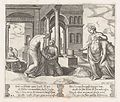 Plate 22- Venus standing at right ordering Psyche to sort a pile of grain, at left the same pair hold a loaf of bread, from the Story of Cupid and Psyche as told by Apuleius MET DP862828.jpg