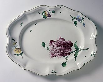 Frankenthal Porcelain Factory - Platter with a paeony from the French Hannong factory making Strasbourg faience, c. 1765