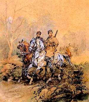 Resistance movements in partitioned Poland (1795–1918) - Polish partisans of 1863 by Juliusz Kossak, oil on canvas.