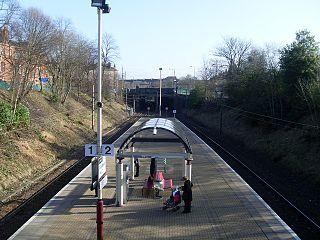 Pollokshields West railway station railway station in Glasgow City, Scotland, UK