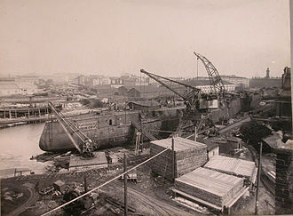 Fitting-out - Outfitting of Russian battleship Poltava in Admiralty Shipyard, 1912