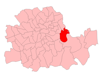 1942 Poplar South by-election - Poplar South in the Parliamentary County of London, showing boundaries used from 1918 to 1950.