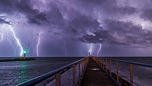 Port and lighthouse overnight storm with lightning in Port-la-Nouvelle.jpg