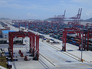 Container terminal - Shanghai Port is the world's busiest maritime container terminal