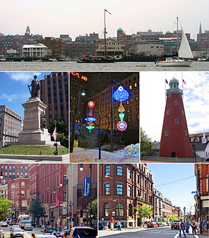 Clockwise: Portland waterfront, the Portland Observatory on Munjoy Hill, the corner of Middle and Exchange Street in the Old Port, Congress Street, the Civil War Memorial in Monument Square, and winter light sculptures in Congress Square Plaza.