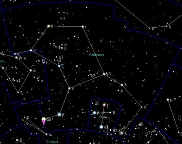 Die Position von Alpha Centauri