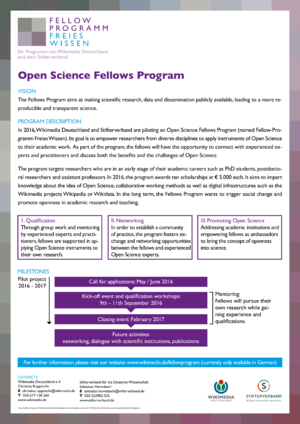 Poster WMDE Opens Science Fellows Program