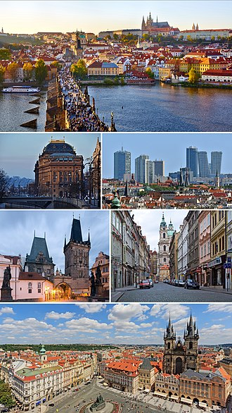 Prague - Clockwise from top: panorama with Prague Castle, Malá Strana and Charles Bridge; Pankrác district with high-rise buildings; street view in Malá Strana; Old Town Square panorama; gatehouse tower of the Charles Bridge; National Theatre