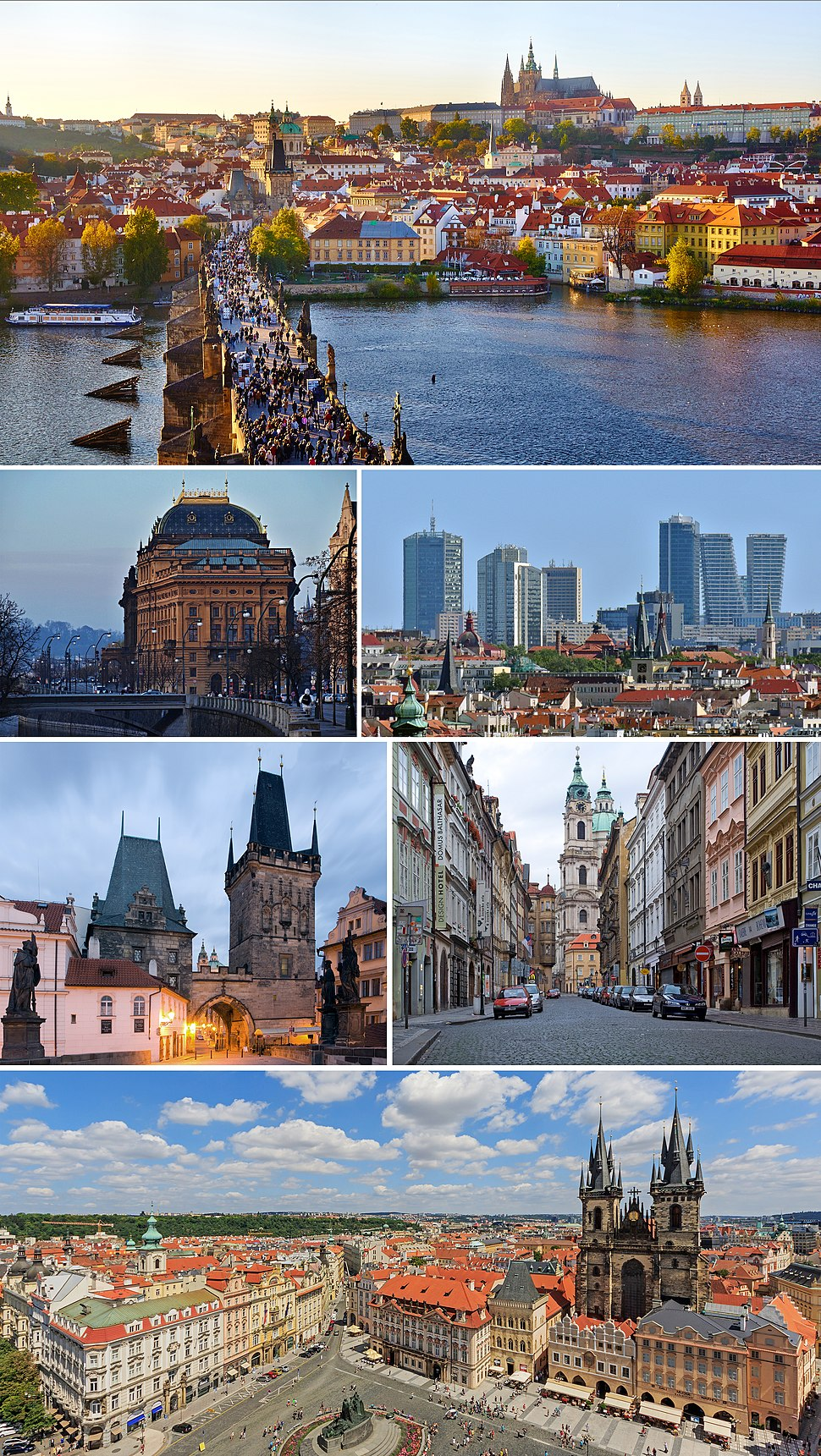 Clockwise from top: panorama with Prague Castle, Malá Strana and Charles Bridge; Pankrác district with high-rise buildings; street view in Malá Strana; Old Town Square panorama; gatehouse tower of the Charles Bridge; National Theatre