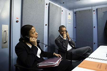 President Barack Obama and National Security Advisor Susan E. Rice talk on the phone with Homeland Security Advisor Lisa Monaco to receive an update on a terrorist attack in Brussels, Belgium.jpg