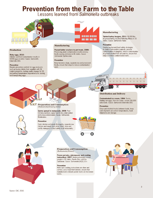 2012 outbreak of Salmonella - An infographic illustrating prevention methods to reduce Salmonella contamination in many scenarios