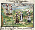 Priests and monks carrying banners, chalice, service books and monstrance; part of the preparations at Sanlucar in Andalucia for a proposed expedition to Venezuela - Cöler family album (1560-1632), f.33v - BL Add MS 15217.jpg