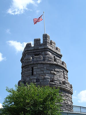 Union Square (Somerville) - The Grand Union Flag flying on Prospect Hill Monument, overlooking Union Square